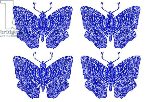Four Blue Butterflies, 2020 (digital drawing)
