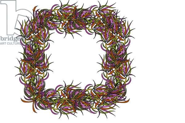 Square Multicoloured Leaf Frame, 2020 (digital)