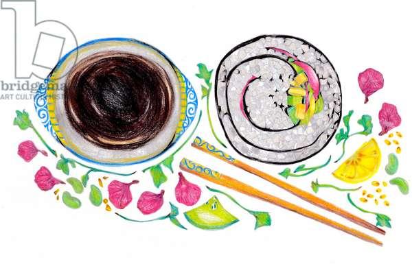 Sushi, 2020 (coloured pencil)