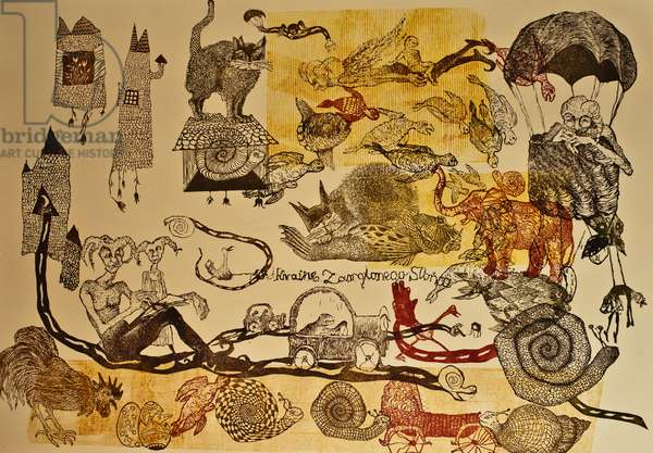 from the cycle Felicjan's journeys, 2015, (linocut)