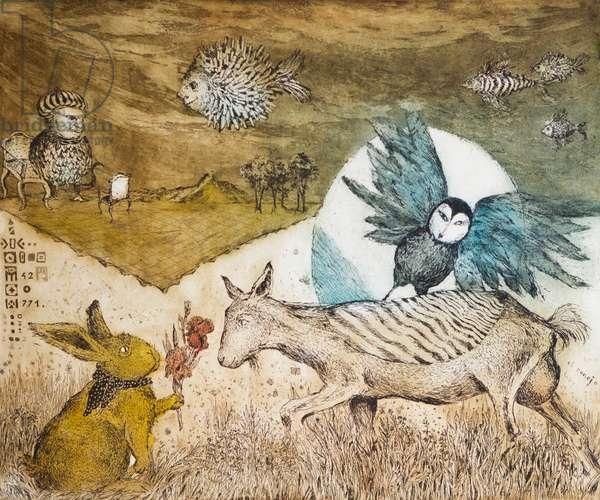 Birthday of goat Juanita, 2015, (etching)