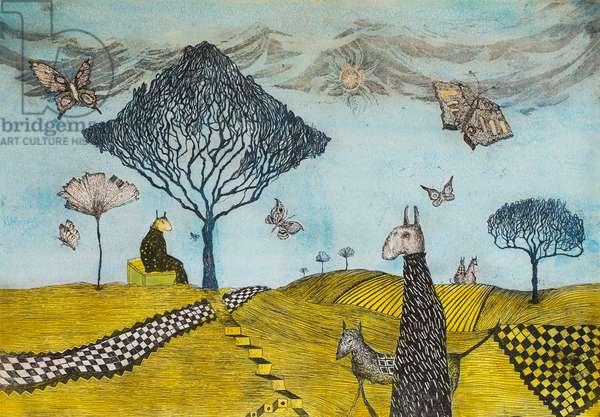 The sun purrs, butterflies sing, 2003, (etching)