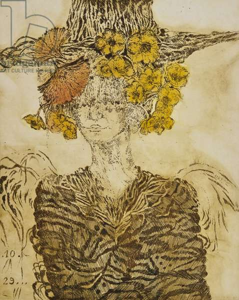 In marigolds, 2012, (etching)