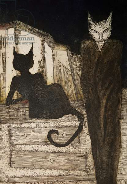 Cat and his guide, 1998, (etching)