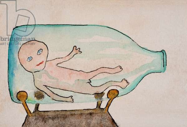 Baby in Bottle, 2000,  (watercolour on paper)
