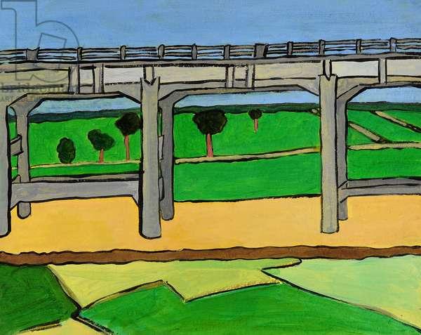 Mysore Viaduct, 2008, (acrylic on khadi paper)