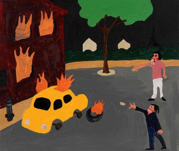 Paris Riot, 2006, (oil on canvas)