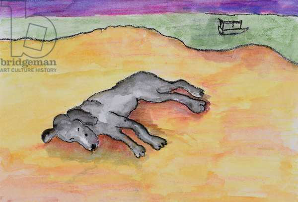 Dog Sleeping on the Beach, 2010, (watercolour on paper)