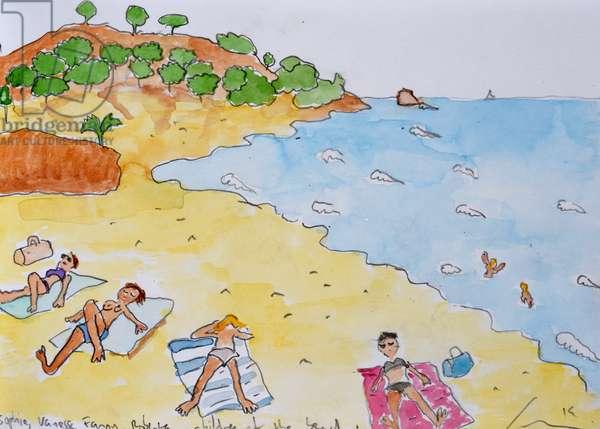 Sunbathing near Barcelona, 2014, (watercolour on paper)