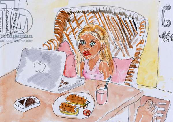 Breakfast with the Laptop, 2009, (watercolour on paper)