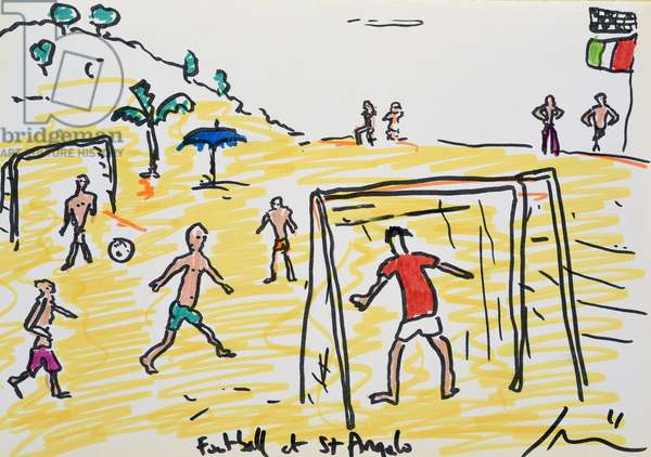 Football on the Beach, 2011, (watercolour on paper)