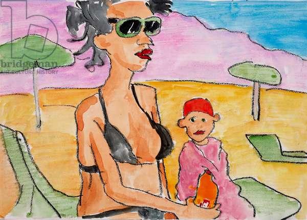 Sunbathing in Turkey, 2009, (watercolour on paper)