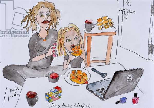 Eating Mango Hedgehogs, 2012, (watercolour on paper)
