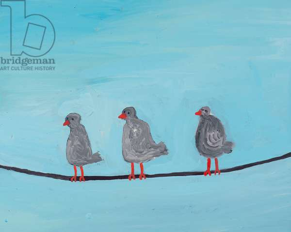 Three Birds on a Wire, 2012, (oil on canvas)