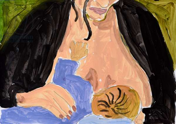 Breast feeding, 2005, (watercolour on paper)