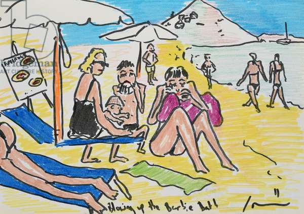Figures on an Italian Beach, 2011, (felt tip on paper)