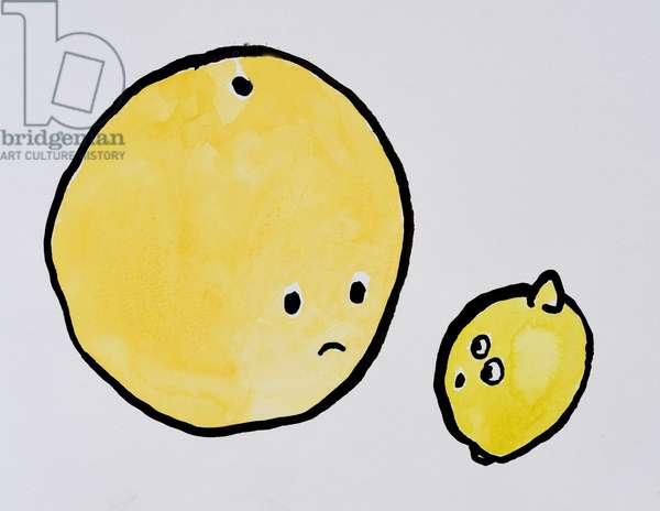 Grapefruit and Lemon, 2015, (watercolour on paper)