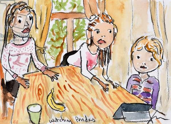 Watching Pandas, 2012, (watercolour on paper)
