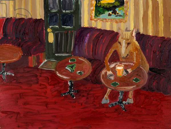 Horse in a Bar, 2000, (oil on paper)