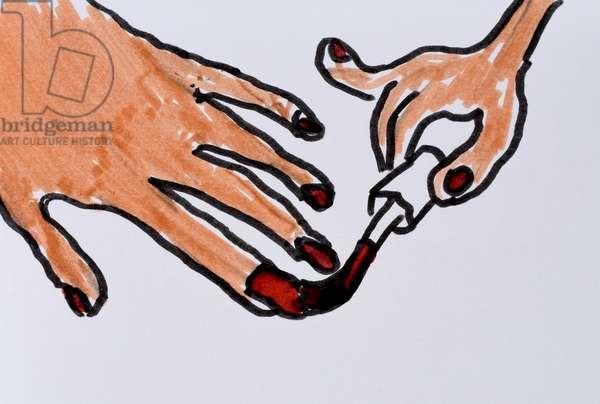 Nail Varnishing, 2010, (watercolour on paper)