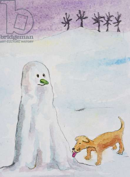 Snowman with Dog, 2000,  (watercolour on paper)