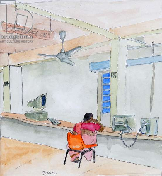Indian Bank, 2008, (watercolour on paper)