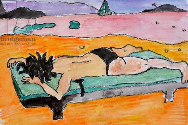 Sunbathing, 2009, (watercolour on paper)