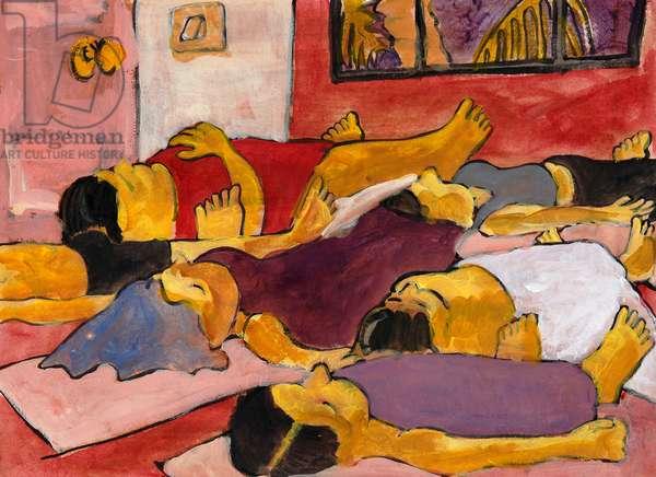 Savasana in the Yoga School, 2008, (acrylic on khadi paper)