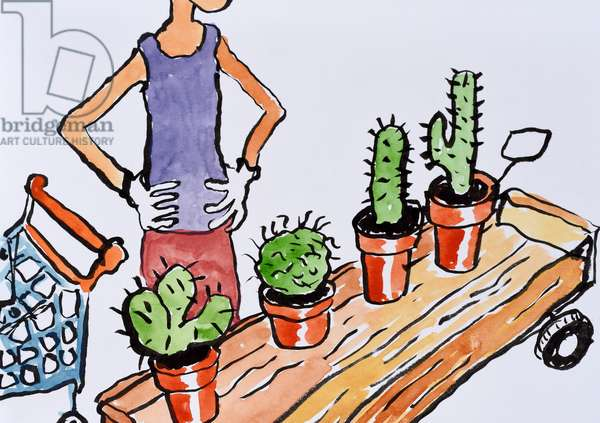 Choosing a Cactus, 2017, (watercolour on paper)