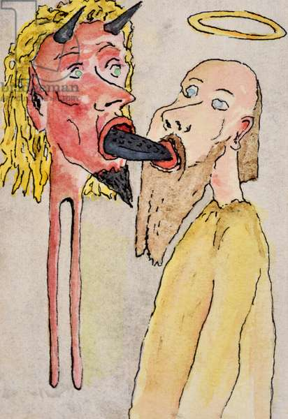 Devil and Saint, 2000,  (watercolour on paper)