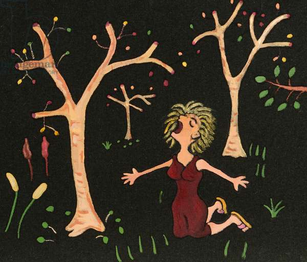 Woman Shouting in the Forest, 2010, (acrylic on fabric)