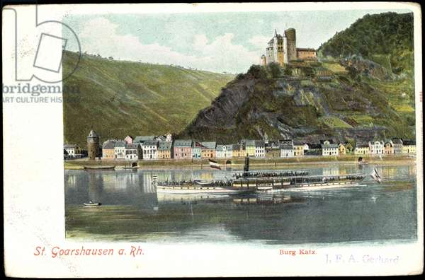 St. Goarshausen Rhine, Katz Castle, water view, steamer Undine