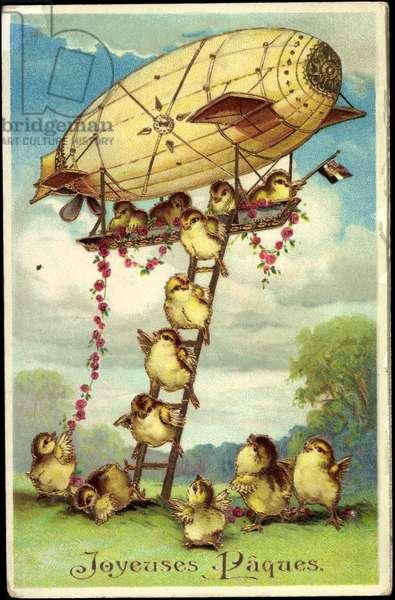 Embossing Artists Happy Easter, Chick, Zeppelin