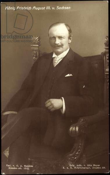 Ak King Frederick August III of Saxony, seat portrait (b/w photo)