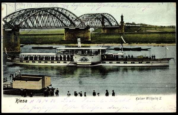 Riesa Saxony, steamer Kaiser Wilhelm II, bridge