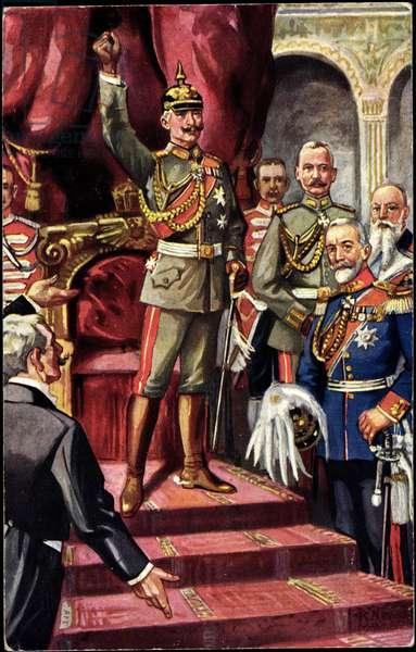 Artist Prussia, Emperor Wilhelm II gives speech, throne