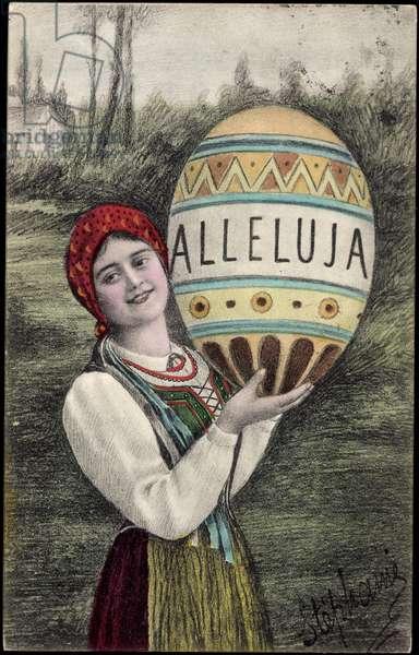 Artist Congratulations Easter, Alleluja, Woman, Costume