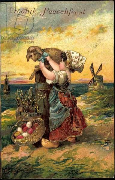 Embossing Litho Congratulations Easter, Vroolijk Paaschfeest
