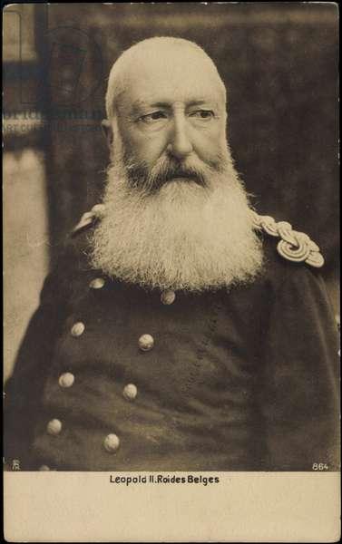 Ak Leopold II Roi des Belges, Uniform, King of Belgians (b/w photo)