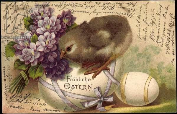 Artist Happy Easter, Chicks, Easter Eggs, Flowers