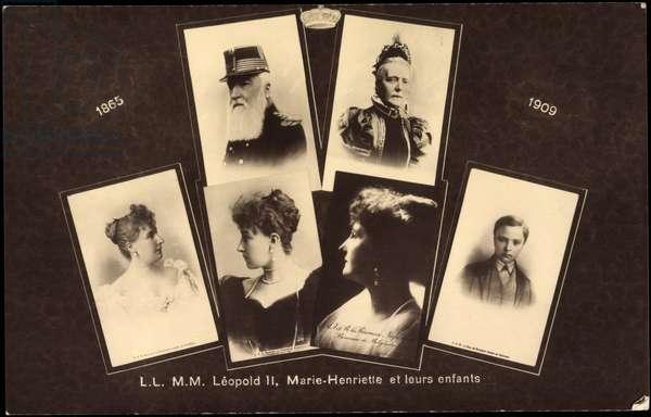 Ak L.L. M.M. Léopold II., Marie Henriette and their children (b/w photo)