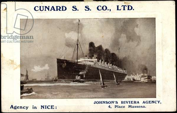 Cunard S.S. Co, R.M.S Lusitania and Mauretania