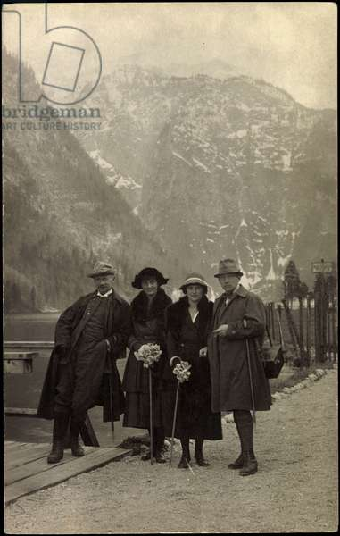Ak King Frederick August III of Saxony, Luise and Frederica of Hohenzollern (b/w photo)