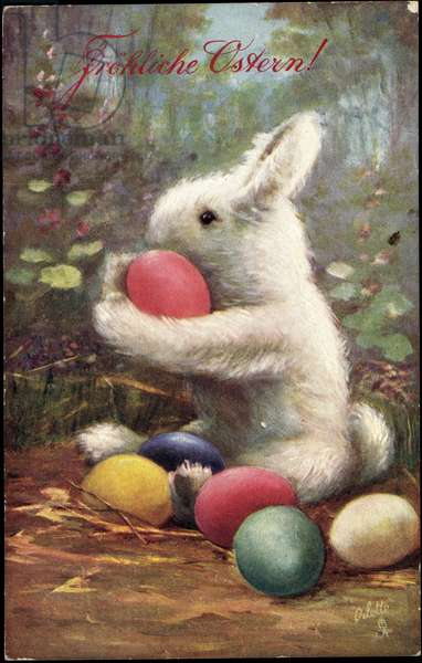 Congratulations Easter, Bunny with Easter eggs, Tucks