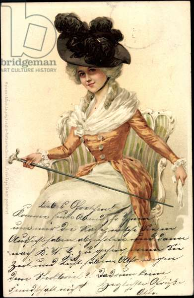 Artist Noble Lady, Walking Stick, Meissner and Book