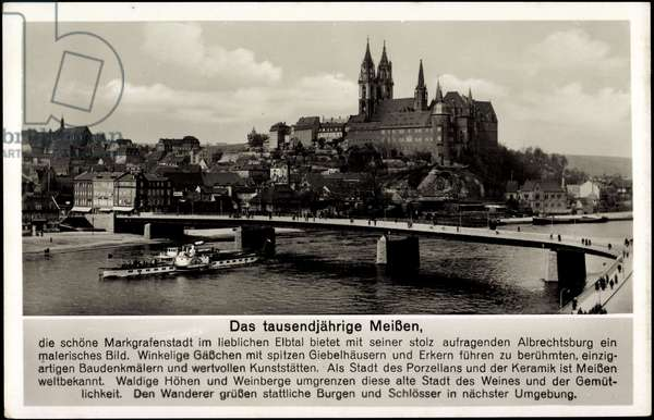 Meissen, steamship Bodenbach, river Elbe, cathedral, bridge