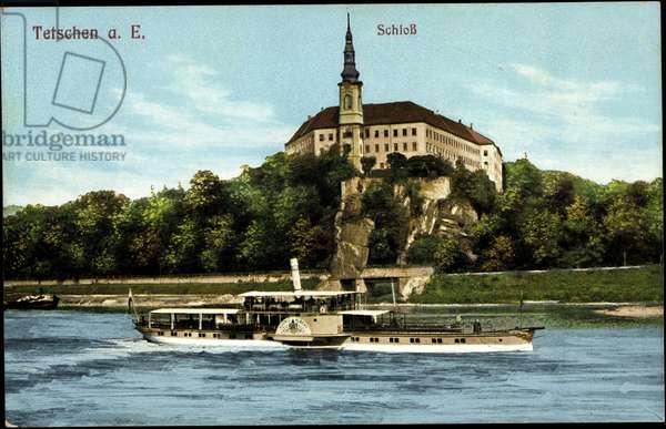 Tetschen Ústecký kraj, steamer King Albert, castle