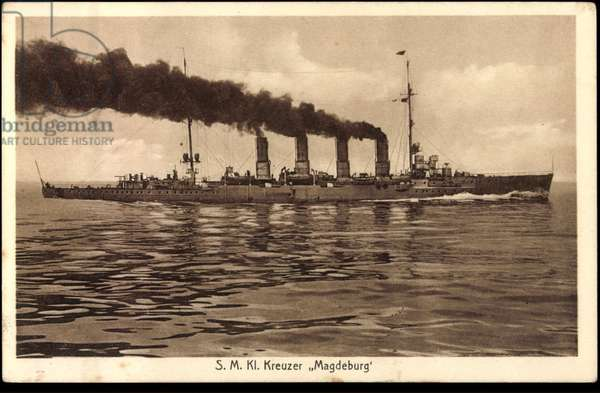 Warship class cruiser Magdeburg in flight