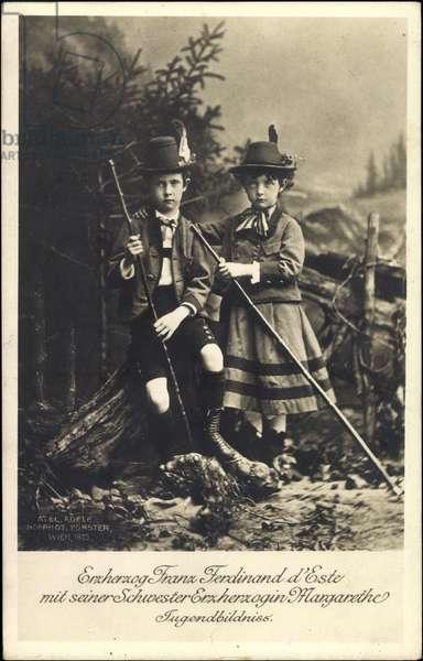 Ak Archduke Franz Ferdinand of Austria Este, Archduchess Margarethe (b/w photo)
