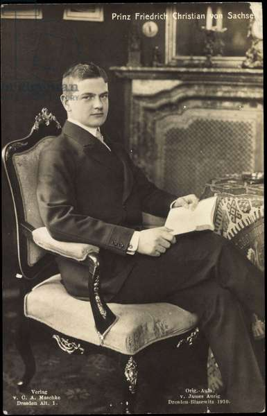 Prince Frederick Christian of Saxony with book